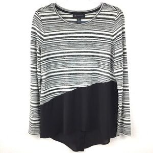 INC Black & White Striped High Low Long Sleeve Top